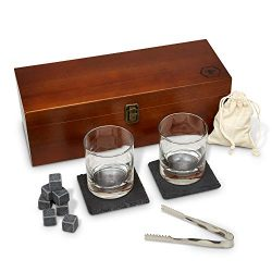 Fine Pursuits Whiskey Stones Gift Set – Whiskey Glass Set – Bourbon Glasses, Stone C ...