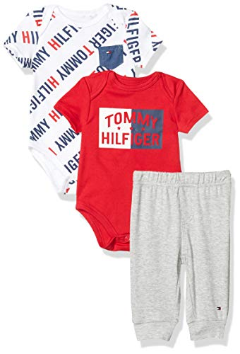 Tommy Hilfiger Baby Boys' 3 Pieces Pants Set, Red/Grey, 18M