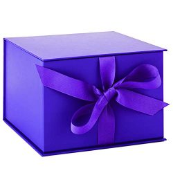 Hallmark 7″ Large Purple Gift Box with Lid and Shredded Paper Fill for Weddings, Graduatio ...