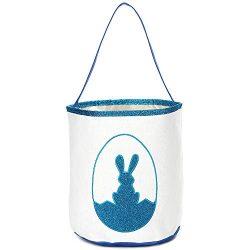 Easter Bunny Basket Glitter Print Egg Bags for Kids,Canvas Personalized Candy Egg Hunt Basket Ra ...