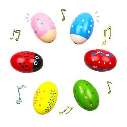 QINGQIU 6 Pack Wooden Shakers Percussion Shake Easter Eggs for Toddlers Kids Boys Girls Easter B ...
