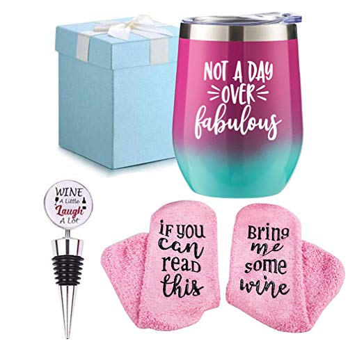 Wine Gifts Set for Women Wine Socks + Wine Stopper + Wine Tumbler with Funny Saying Not a Day Ov ...
