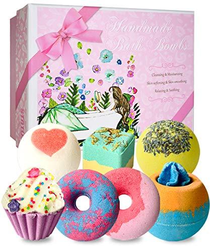 STNTUS Bath Bombs, 7 Natural Bath Bomb Gift Set, Handmade Spa Bubble Bathbombs for Kids, Shea Co ...