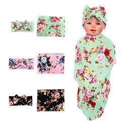 3 Pack BQUBO Newborn Floral Receiving Blankets Newborn Baby Swaddling with Headbands or Hats Sle ...
