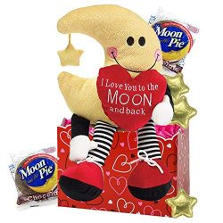 Love You to the Moon Gift Basket with Chocolate for Kids, Teens, Adults