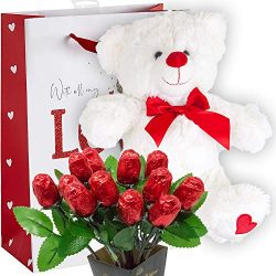 Valentines Day Gift Basket | Tie Die Teddy Bear Plush 12 Inches (COLOR MAY VARY) & Dozen Bel ...
