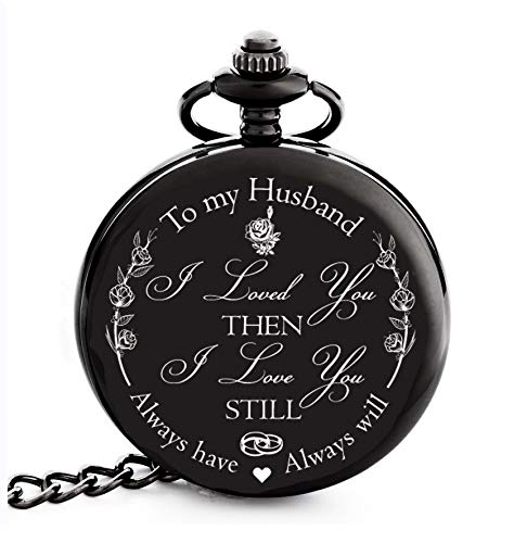 Valentines Gifts for Him / Husband / Men | Engraved 'To my Husband' Pocket Watch | G ...