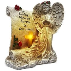 OakiWay Memorial Gifts – Angel Garden Statues Sympathy Gift with Solar Led Light, in Memor ...