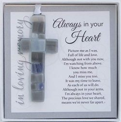 Always in Your Heart Cross with Sympathy Sentiment – Memorial/Remembrance/Bereavement Gift ...