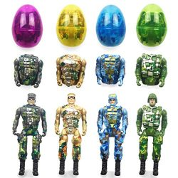 QINGQIU 4 Pack Jumbo Soldier Deformation Easter Eggs with Toys Inside for Kids Boys Girls Easter ...