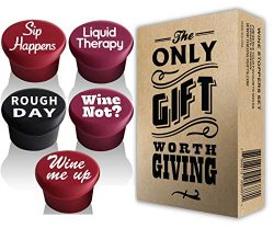 5 Wine Stoppers + Gift Box – Perfect Wine Gift Accessory, Set of 5 Funny Silicone Wine Reu ...