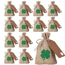 12 Sets St. Patrick's Day Party Favor Bags Lucky Shamrock Burlap Gift Bags Four-Leaf Clove ...