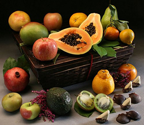 Cortland Fruit Basket: 14 Luscious In-Season Fruits, Hand-Selected with Handcrafted Chocolates i ...
