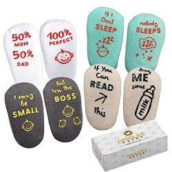 Baby Socks 4-Pair Gift Set -Infant Essentials with Funny Sayings -Non-Skid Gripper Socks to Prev ...