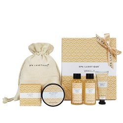 Spa Luxetique Spa Gift Basket, Vanilla Gift Baskets, 6pc Travel Bath Gift Set with Bar Soap, Bod ...