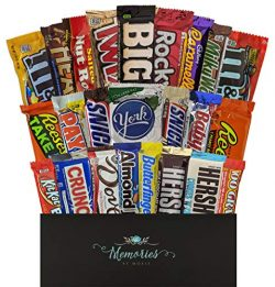 24 CT Unique Full Size Candy Bars in Gift Box – Care Packages for College Students or Mili ...