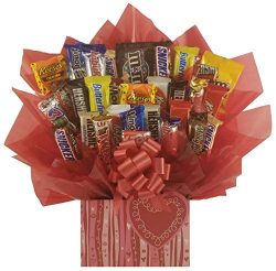 Swirly Heart Chocolate Candy Bouquet gift basket box – Great gift for Birthday, Get Well,  ...