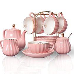 Porcelain Tea Sets British Royal Series, 8 OZ Cups& Saucer Service for 6, with Teapot Sugar  ...