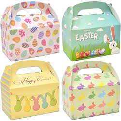 48 3D Happy Easter Cardboard Treat Boxes Paper Gable Boxes for Kids School Classroom Party Favor ...