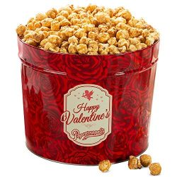 Popcornopolis Gourmet Popcorn 1.26 Gallon Tin with Caramel Corn, Valentine's Day