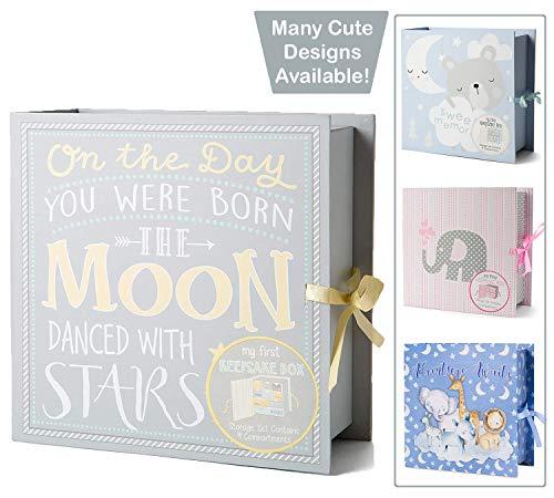 Baby Milestone Keepsake Storage Box: Track Treasured Memories – Moon & Stars