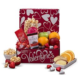 Valentine's Day Fruit Basket Gift Box with Chocolate Candy, Fruit, and Popcorn – Val ...