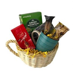 Gourmet Coffee Gift Basket Sampler Lindt Chocolate Biscotti Snack Mug Assortment