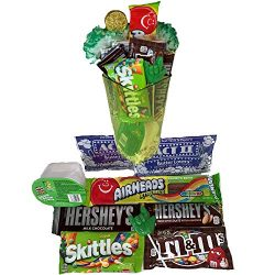 Movie Night Basket A St Patricks Day Gift with Popcorn Chocolate Candy Chips and A Green ASL ILY ...