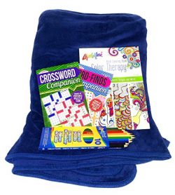 Get Well Gifts Set – Plush Fleece Blanket Throw Bundle with Word Finds, Crossword Puzzles, ...