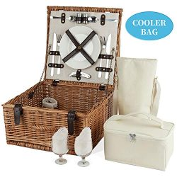 HappyPicnic Classic Wicker Picnic Basket for 2 Person – Natural Willow Camping Picnic Set  ...