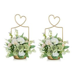 2 Pcs Portable Flower Basket, Flower Box, Metal Flower Basket Gold Flower Arrangement, Wedding F ...