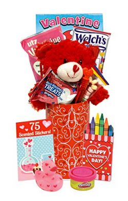 Filled Valentines Gift Basket – For Young Kid Baby Child Toddler – Valentines Mailbo ...
