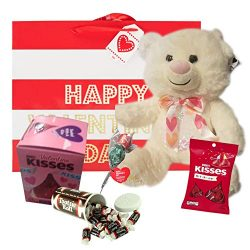 Valentine's Day Gift Basket| 12 Inches Teddy Bear Plush, Valentine Bag, Hershey candy, Her ...