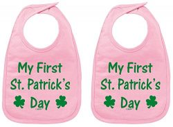 Funny Baby Bib Sayings My First St Patricks Day Shamrock Cute Baby Bib Pink 2 Pack