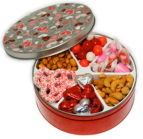 Valentines Day Candy Gift Basket Filled with Assorted Candies, Chocolates, Nuts, Sweet Treats Go ...