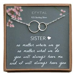 EFYTAL Sister Gifts from Sister, 925 Sterling Silver Double Circle Necklace, Birthday Jewelry Gi ...