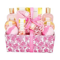 Spa Luxetique Spa Gift Baskets Valentine's Day Gift Set, Premium 12pc Rose Gift Baskets fo ...