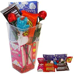 Valentine's Day Popcorn Movie Night Snack Basket Butter Flavored Popcorn Chocolate Roses C ...