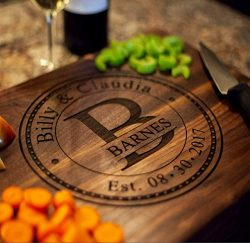 Anniversary Gifts or Wedding Gift – for couple or bride. Personalized Cutting Board, Engag ...
