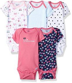 GERBER Baby Girls' 5-Pack Variety Onesies Bodysuits, Pink Princess, Newborn