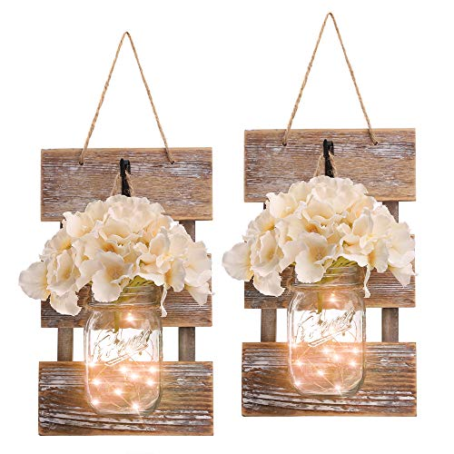 HOMKO Mason Jar Wall Decor with LED Fairy Lights and Flowers – Farmhouse Home Decor (Set of 2)