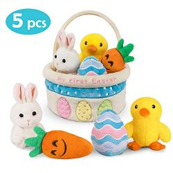 Ivenf My First Easter Basket Playset, 5ct Stuffed Plush Bunny Chick Carrot Egg for Baby Girls Bo ...