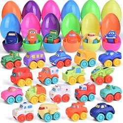 18 Pcs Easter Eggs Prefilled with Baby Cars for Easter Basket Stuffers, Soft Rubber Toy Vehicles ...