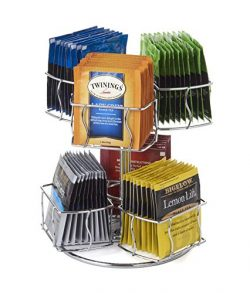 Nifty Solutions Tea Bag Storage and Organizer Spinning Carousel. Organize 60 Tea Bags. 6 Compart ...