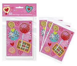2 Packs of 50 Count Candy Treat Gift Bags for Classroom Set Valentine's Day Mother's ...