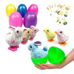 Easter Eggs Filled 6 Pack Surprise Eggs with Wind Up Rabbits Inside, Colorful Pre Plastic Easter ...