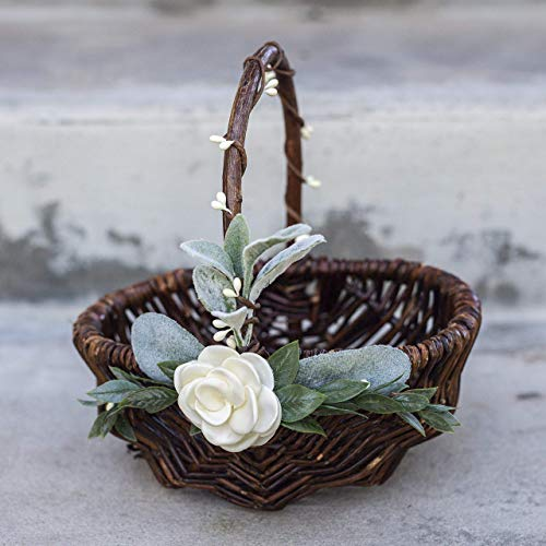 Willow Flower Girl Basket – Boho Wood Flower Girl Basket – Rustic Wedding Basket w/G ...