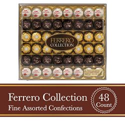 Ferrero Rocher Fine Hazelnut Milk Chocolate and Coconut Confections, 48 Count, Assorted Chocolat ...