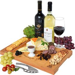 Unique Bamboo Cheese Board, Charcuterie Platter & Serving Tray for Wine, Crackers, Brie and  ...