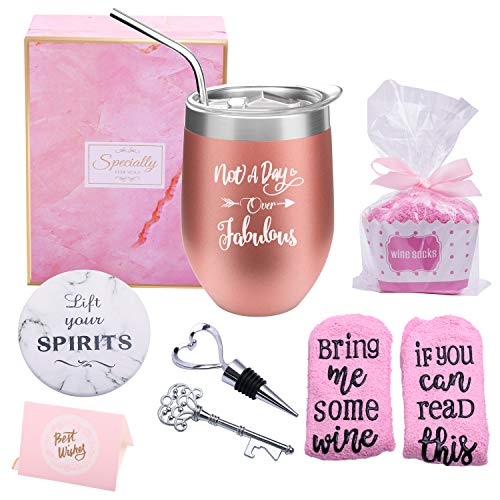 Yorktend Not a Day Over Fabulous Wine Tumbler – Fun Birthday Gifts for Women – Funny ...
